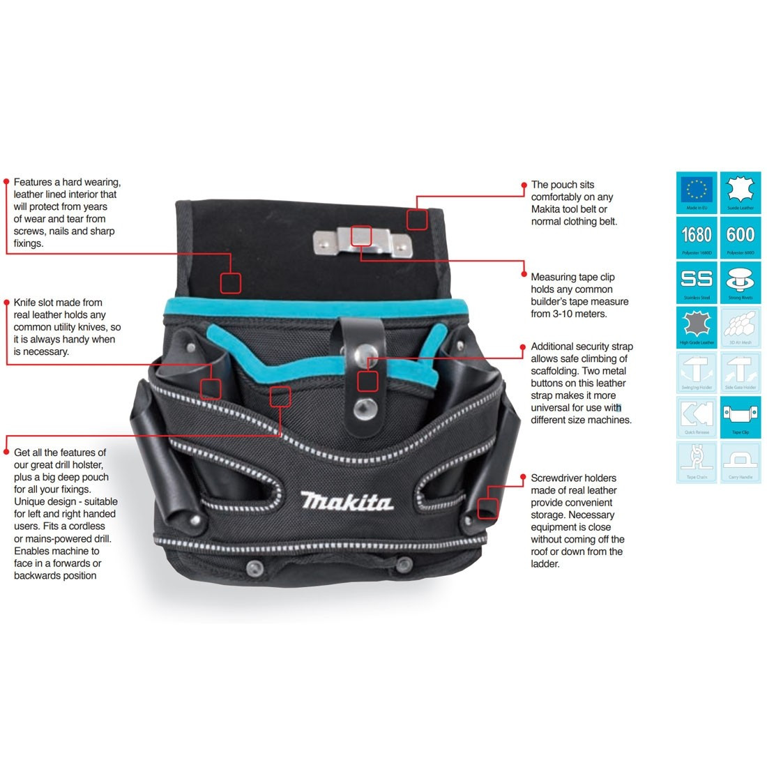 NEW MAKITA P-71722 DRILL HOLSTER /& Handed POUCH Bag Universal Belt Tools Fixings
